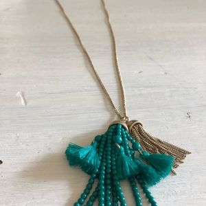 J. Crew Gold and Turquoise Long Necklace
